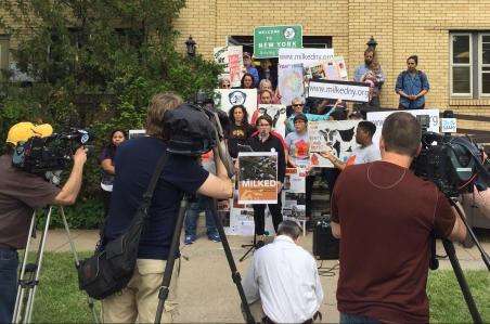"Press conference for the release of the report ""Milked: Dairy Farmworkers in New York State"" on June 1st. at the Workers' Center of Central New York in Syracuse."